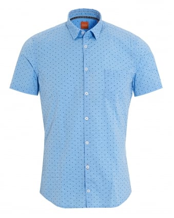 Mens Eglam Short Sleeve Blue Polka Dot Shirt