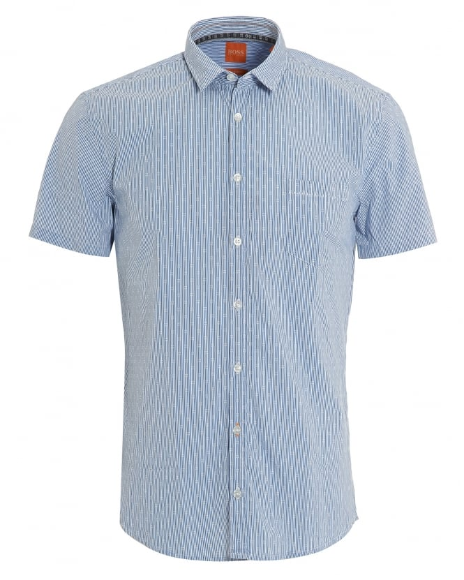 Hugo Boss Orange Mens Eglam Short Sleeve Sky Blue Fine Stripe Shirt