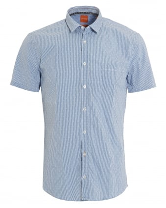 Mens Eglam Short Sleeve Sky Blue Fine Stripe Shirt