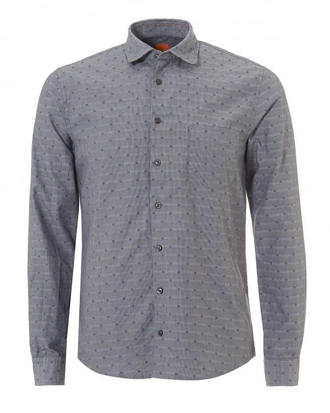 BOSS Casual Mens Epop All Over Geometric Slim Fit Grey Shirt