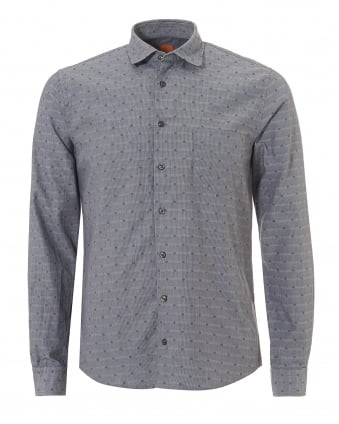 Mens Epop All Over Geometric Slim Fit Grey Shirt