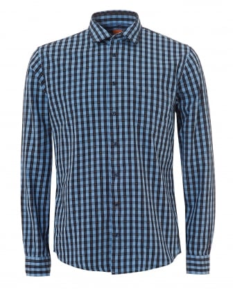 Mens Epop Checked Multi Dotted Slim Fit Blue Shirt