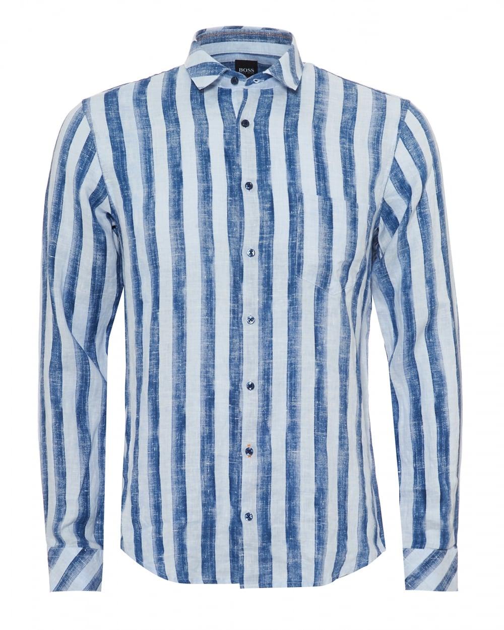 Mens Epop Linen Shirt, Broad Vertical Stripe Navy Blue Sky Shirt
