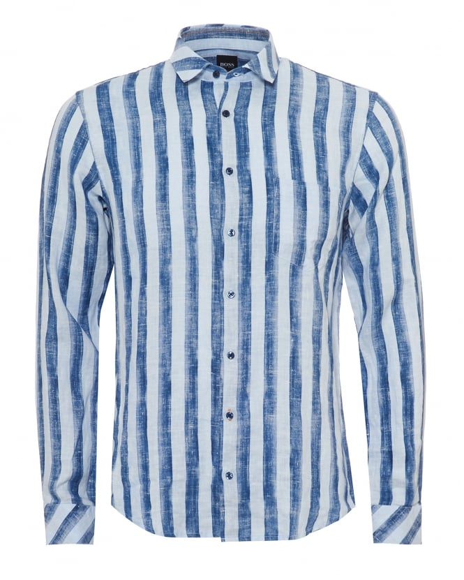BOSS Casual Mens Epop Linen Shirt, Broad Vertical Stripe Navy Blue Sky Shirt