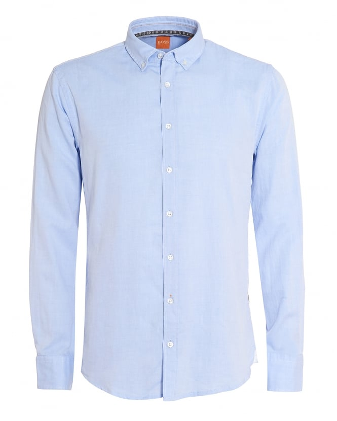 Hugo Boss Orange Mens Epreppy Shirt, Slim-Fit Sky Blue Cotton Shirt
