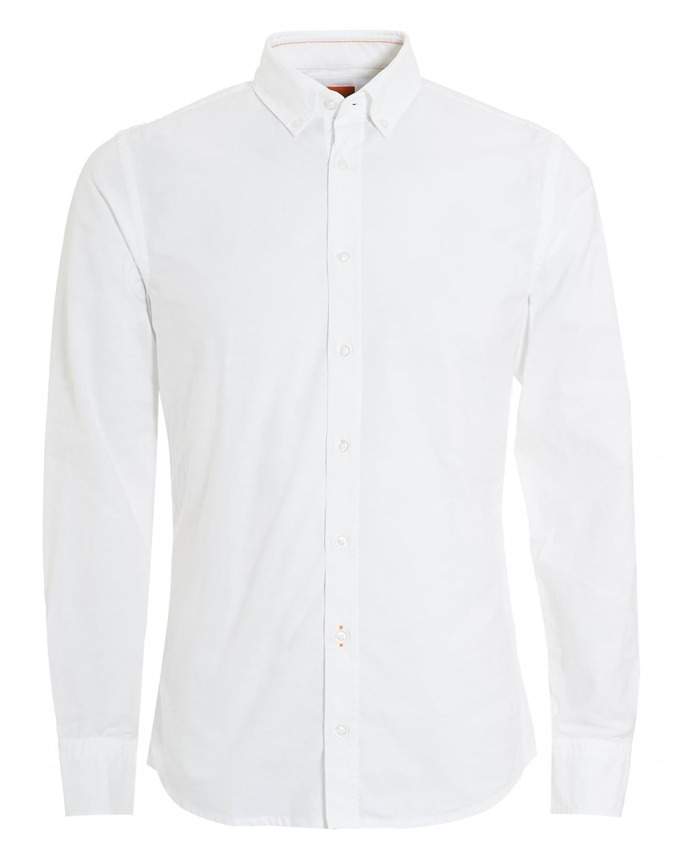 Hugo boss orange mens epreppy slim fit white oxford shirt for Mens white oxford button down shirt