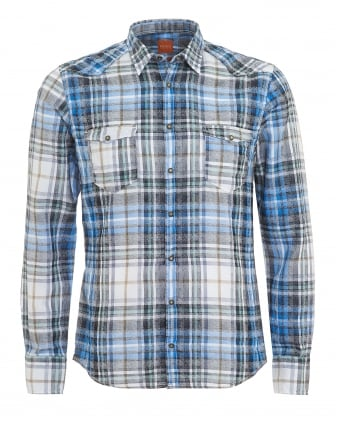 Mens Erodeo Slim Fit Western Checked Blue Shirt