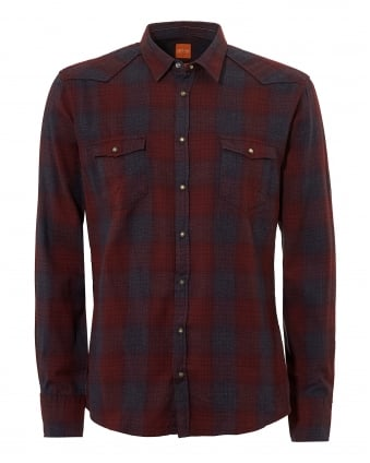 Mens Erodeo Western Checked Burgundy Shirt
