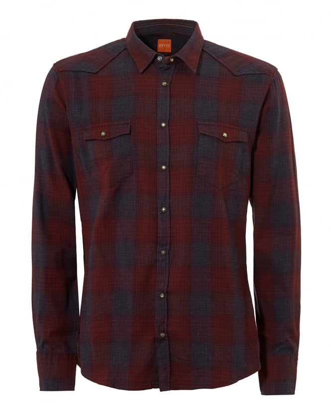 BOSS Casual Mens Erodeo Western Red and Blue Checked Shirt
