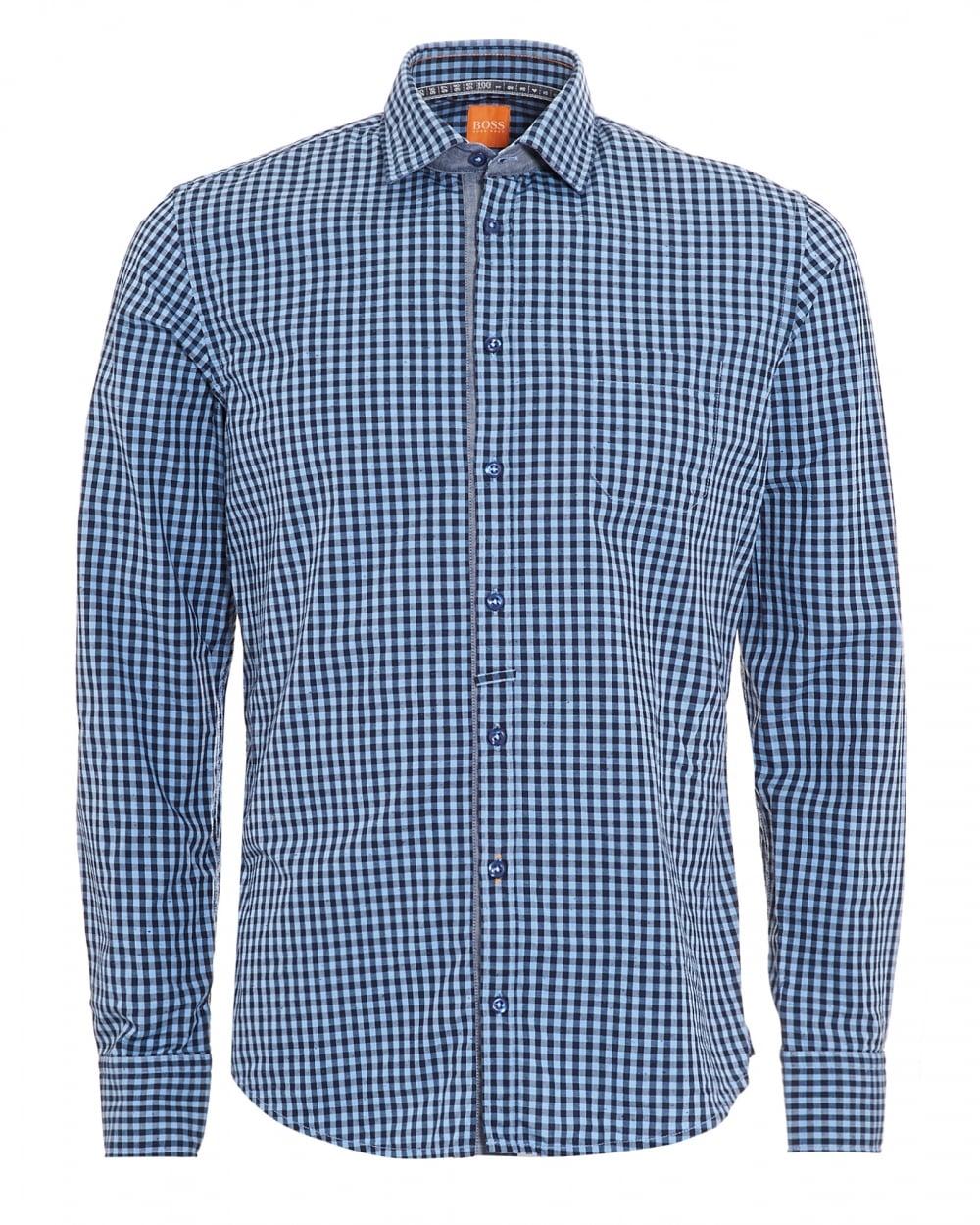 hugo boss orange mens eslime navy blue checked slim fit shirt