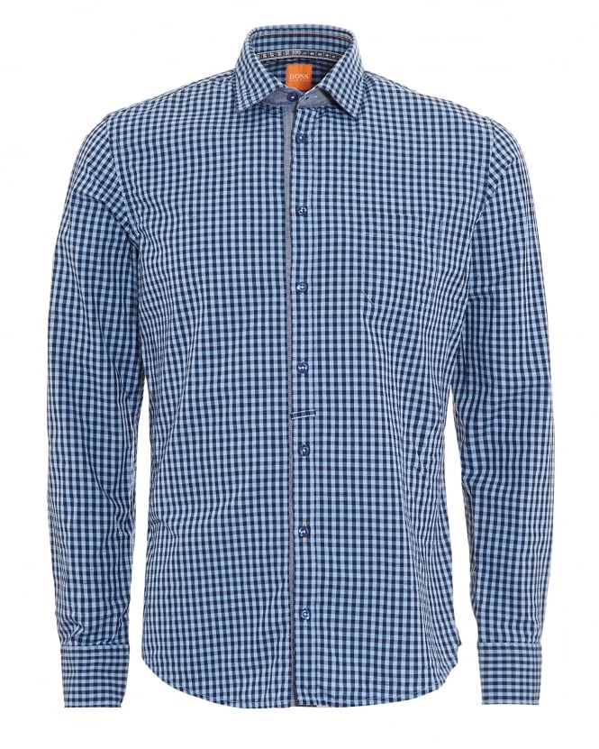 BOSS Casual Mens EslimE Navy Blue Checked Slim Fit Shirt