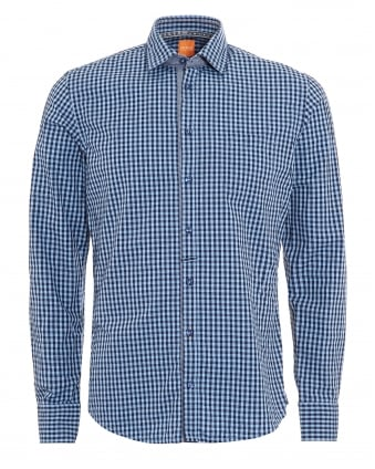 Mens EslimE Navy Blue Checked Slim Fit Shirt