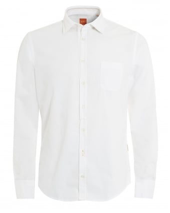 Mens Eslime White Slim Fit Twill Cotton Shirt