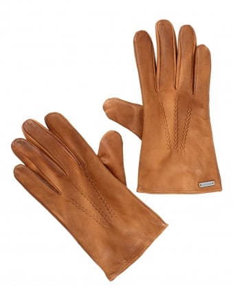 Mens Gans 3 Gloves, Distressed Leather Tan Gloves