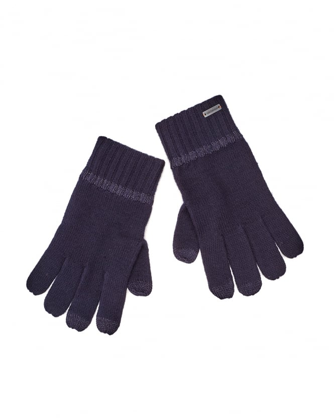 Hugo Boss Orange Mens Grass 2 Navy Blue Wool Gloves