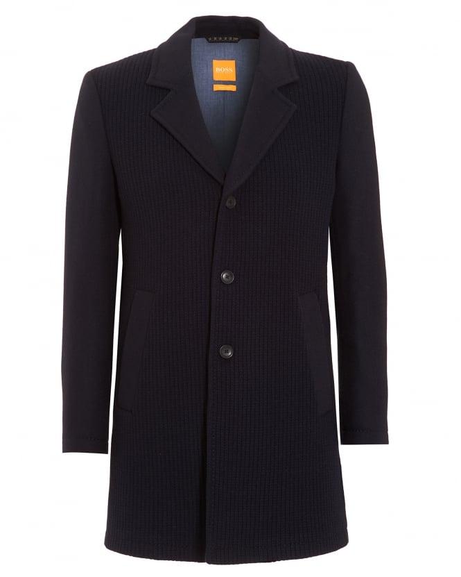 Hugo Boss Orange Mens Jacket, Balley Chunky Knit Navy Blue Coat