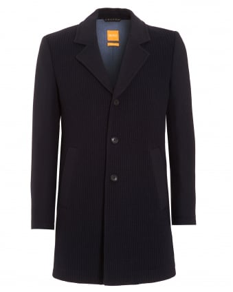 Mens Jacket, Balley Chunky Knit Navy Blue Coat
