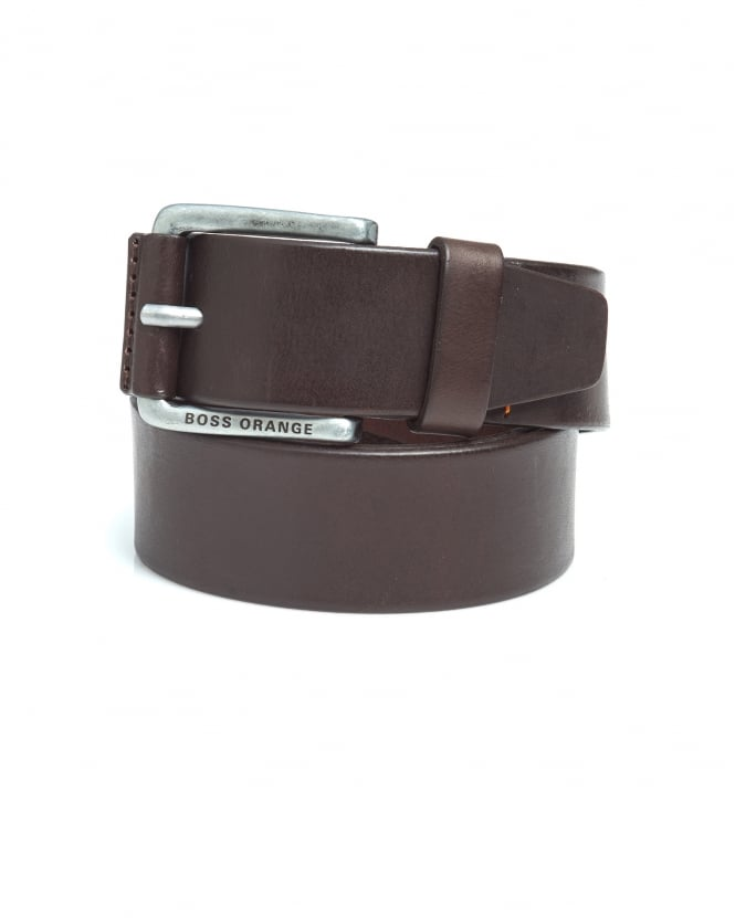 BOSS Casual Mens Jakab Brown Smooth Leather Belt