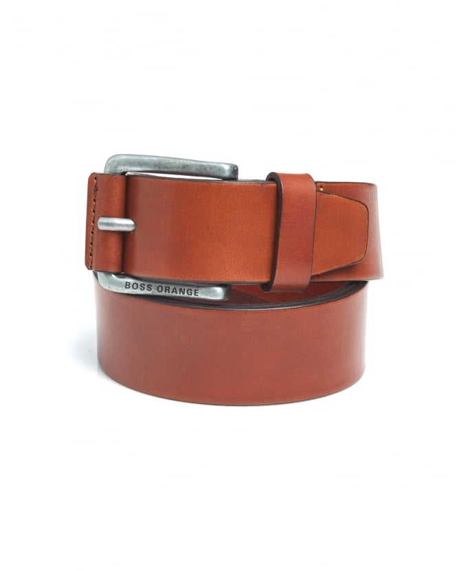BOSS Casual Mens Jakab Tan Smooth Leather Belt