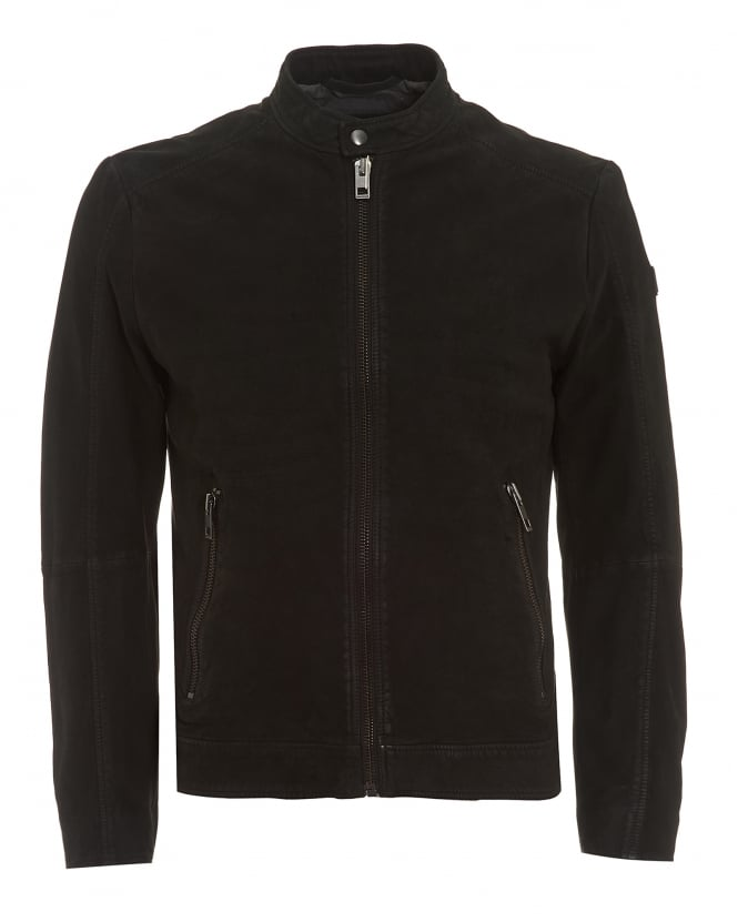 BOSS Casual Mens Jonate Biker Jacket, Black Leather Coat