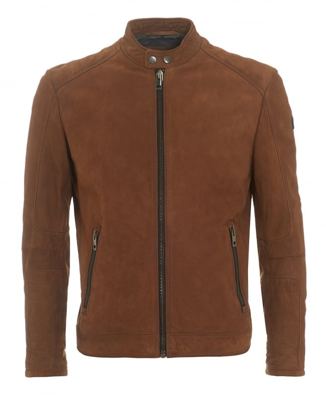 Hugo Boss Orange Mens Jondrix Jacket, Suede Leather Tan Biker Jacket