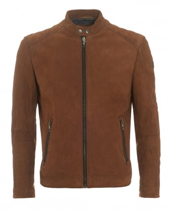 Mens Jondrix Jacket, Suede Leather Tan Biker Jacket