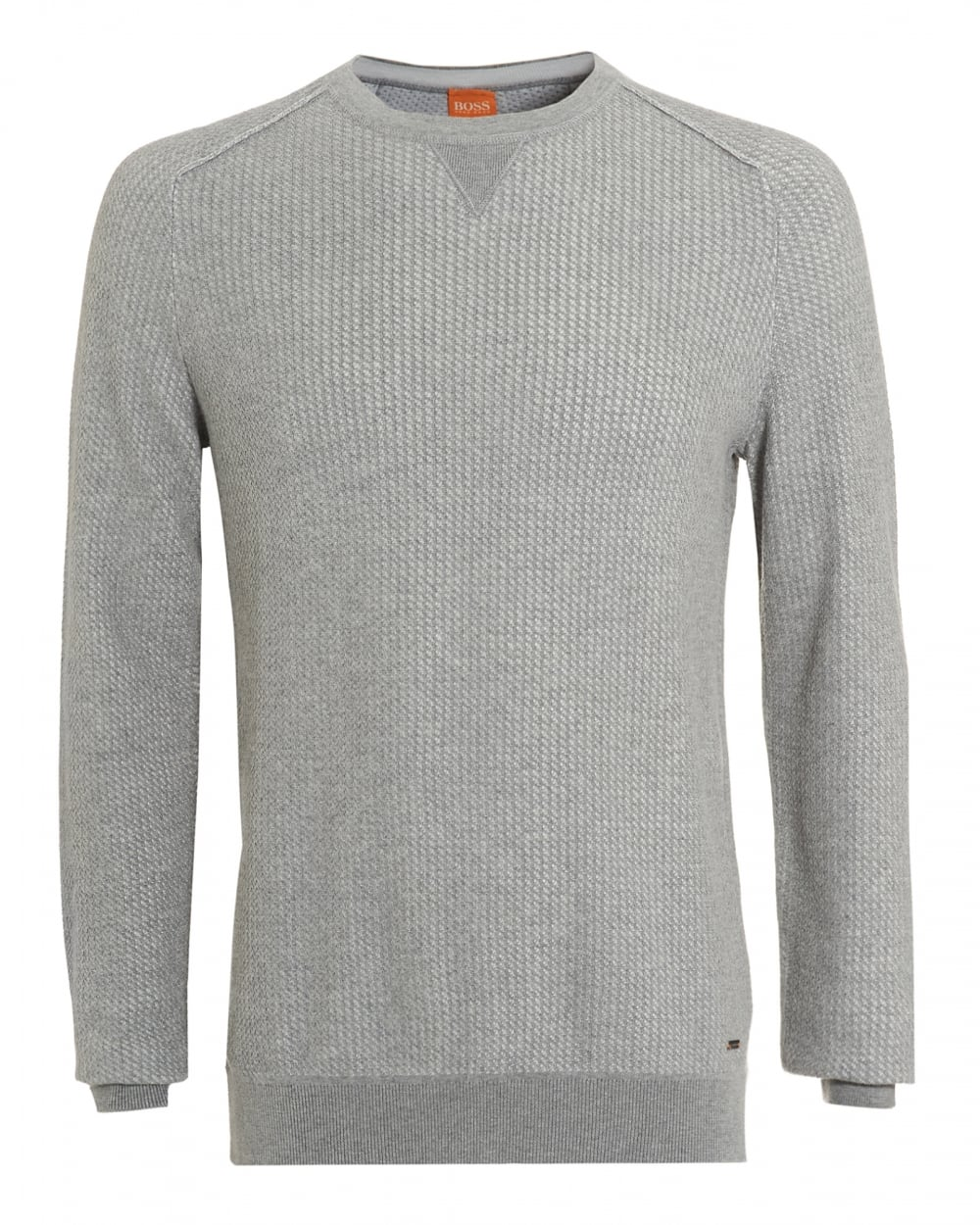 Mens Kawanan Jumper, Grey Cotton Cable Knit