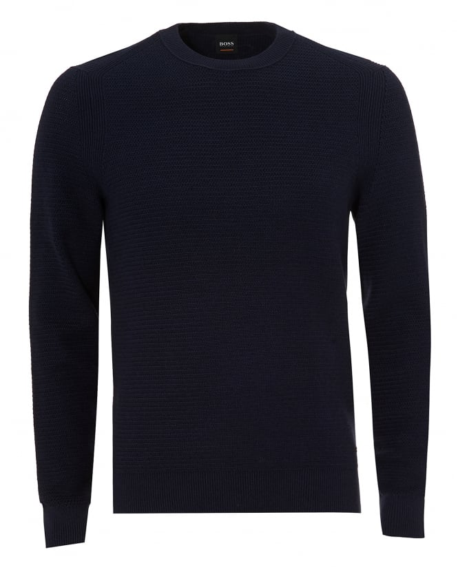 BOSS Casual Mens Kelvor Jumper, Navy Blue Waffle Knit Sweater