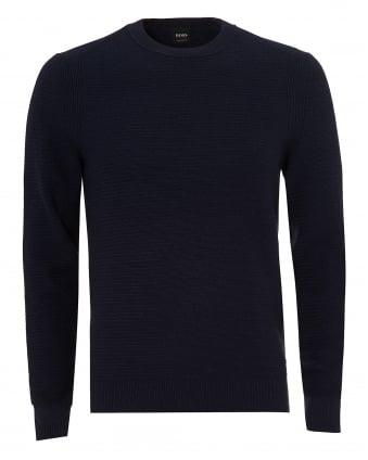 Mens Kelvor Jumper, Navy Blue Waffle Knit Sweater