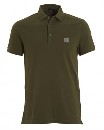 Mens Khaki Passenger Polo, Green Short Sleeve Polo Shirt