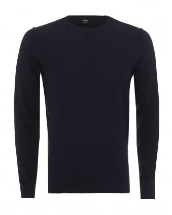 Mens Kwasiros Jumper, Reverse Seam Navy Blue Jumper