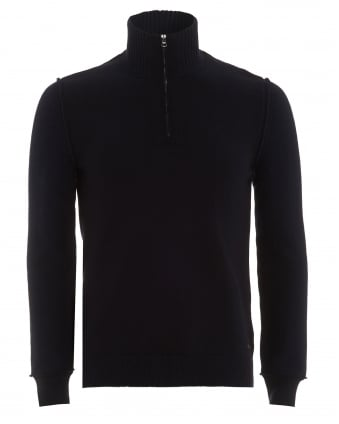 Mens Kwemare Jumper, Dark Navy Blue High Neck Sweater