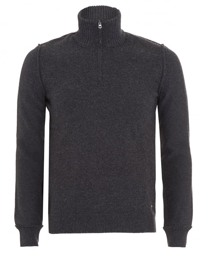 Hugo Boss Orange Mens Kwemare Jumper, Grey Quarter Zip Sweatshirt