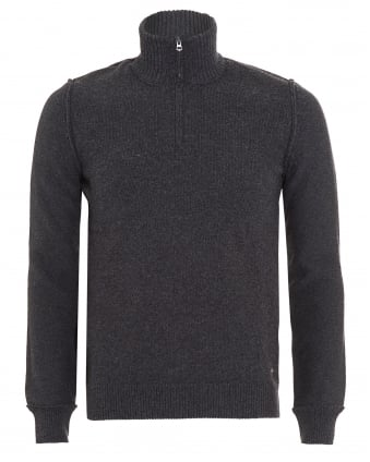Mens Kwemare Jumper, Grey Quarter Zip Sweatshirt