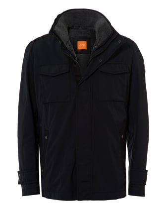 Mens Onick Military Styled Water Repellent Black Jacket