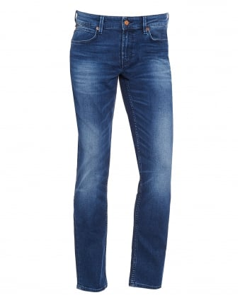 Mens Orange 63 Jeans, Slim Fit Blue Wash Faded Denim