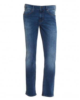 Mens Orange63 Jeans, Slim Fit Mid Wash Whiskered Stretch Denim