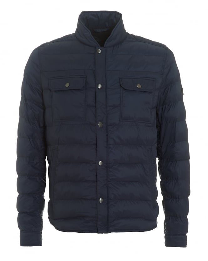 Hugo Boss Orange Mens Orin Quilted Jacket, Lightweight Navy Blue Puffa