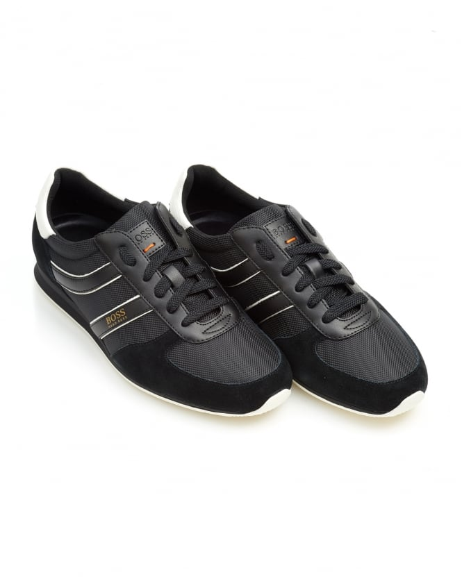 BOSS Casual Mens Orland_Runn_ny Trainers, Side Stripe Black Sneakers