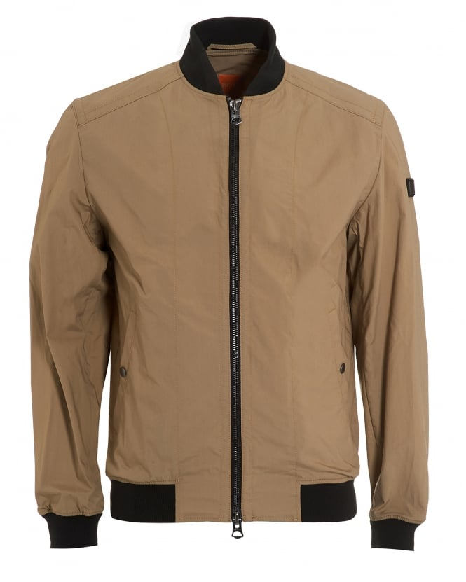 Hugo Boss Orange Mens Oruce Bomber, Contrast Collar Beige Jacket
