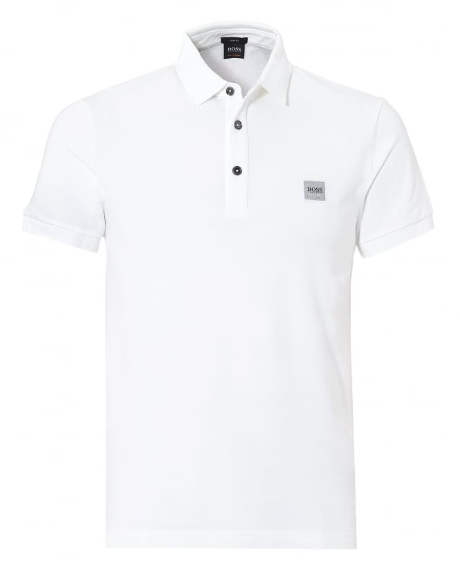 BOSS Casual Mens Passenger Polo, White Short Sleeve Polo Shirt