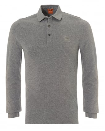Mens Paulyn Polo Shirt, Long Sleeved Pima Cotton Grey Polo