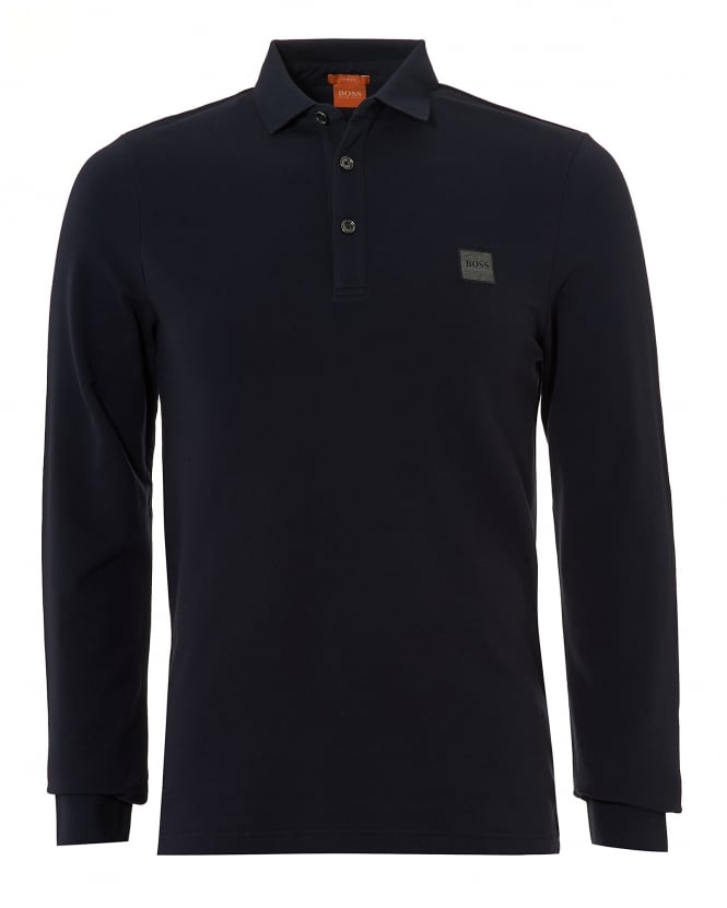 Hugo Boss Orange Mens Paulyn Polo Shirt, Long Sleeved Pima Cotton Navy Polo