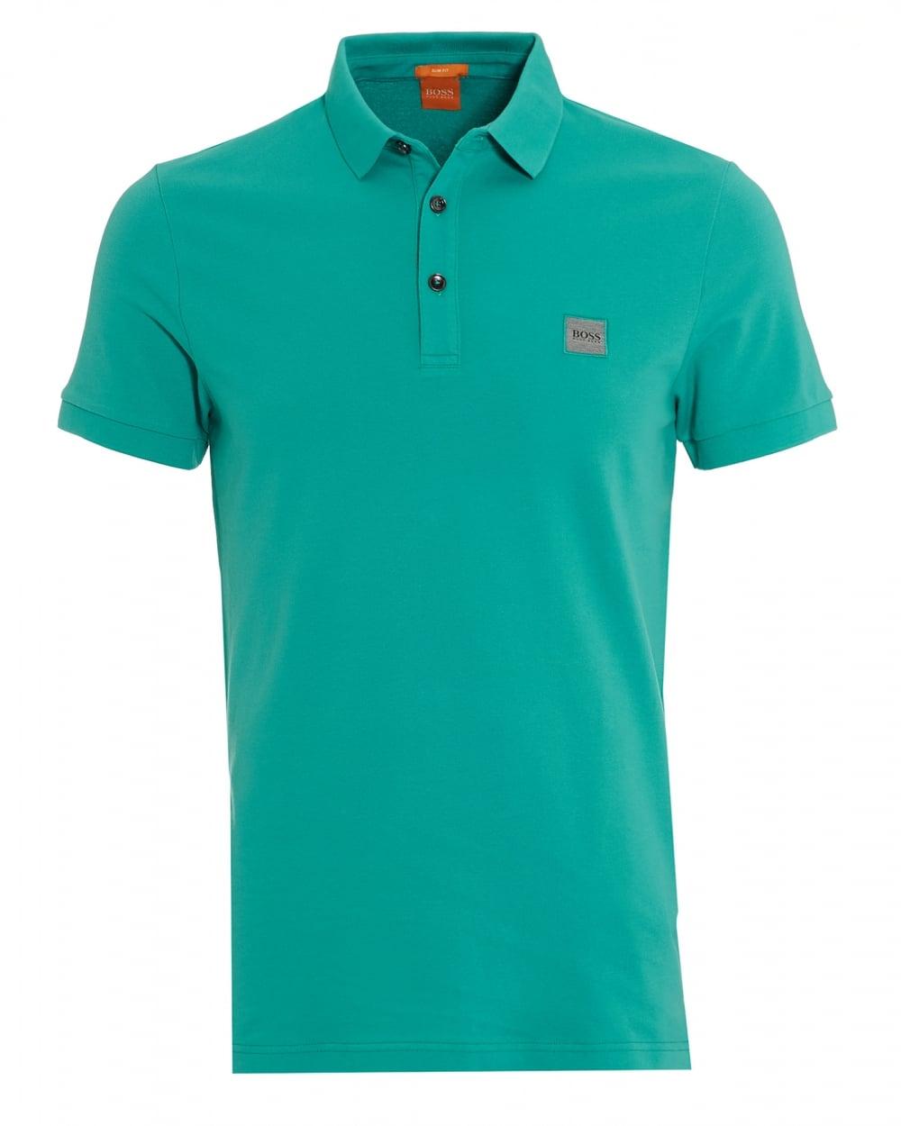 Hugo boss orange mens pavlik polo basic slim fit mint for Orange polo shirt mens