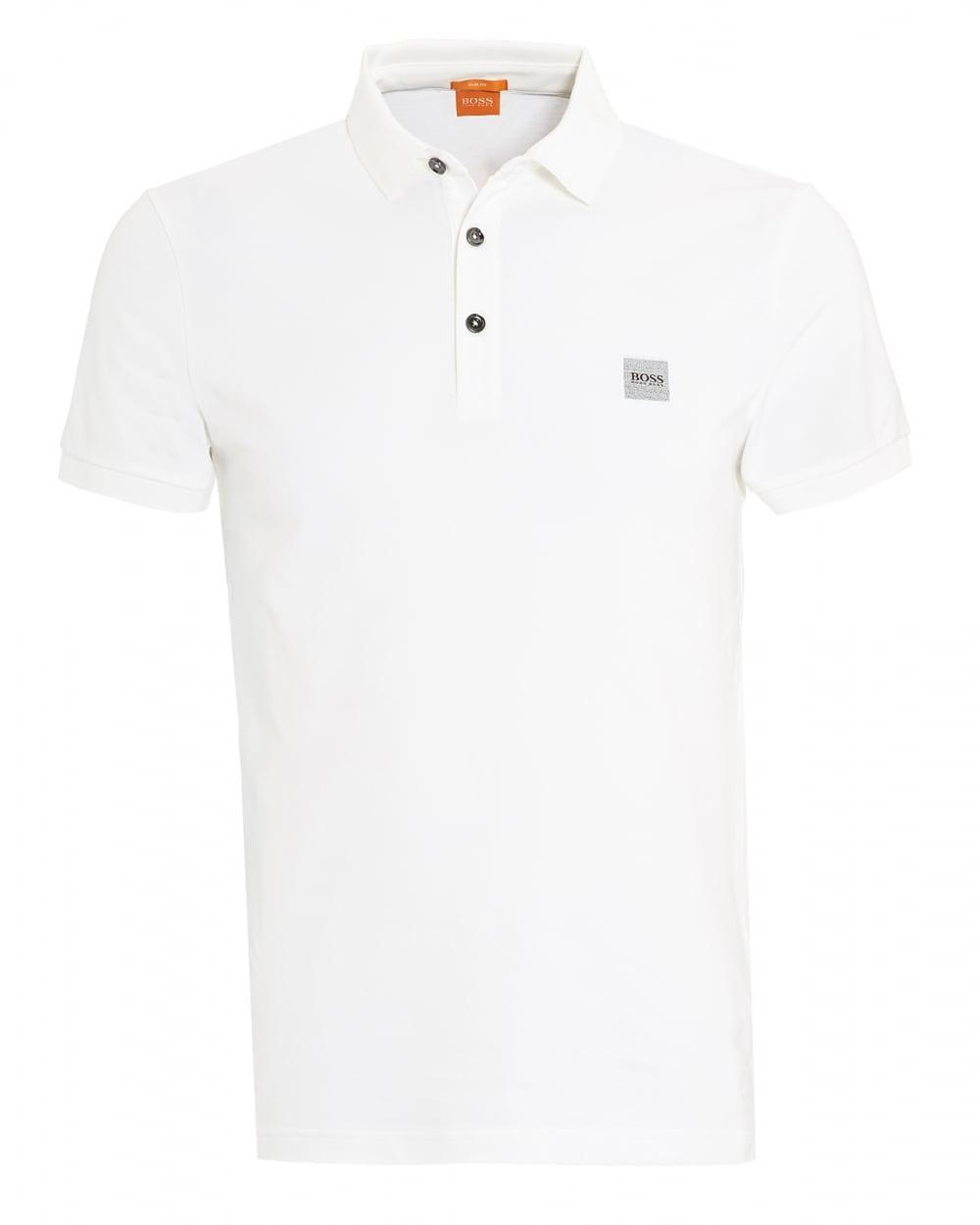 Hugo boss orange mens pavlik polo basic slim fit white for Mens slim white shirt