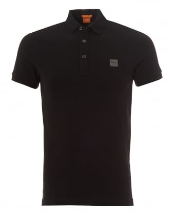 Mens Pavlik Polo, Plain Chest Logo Black Polo Shirt