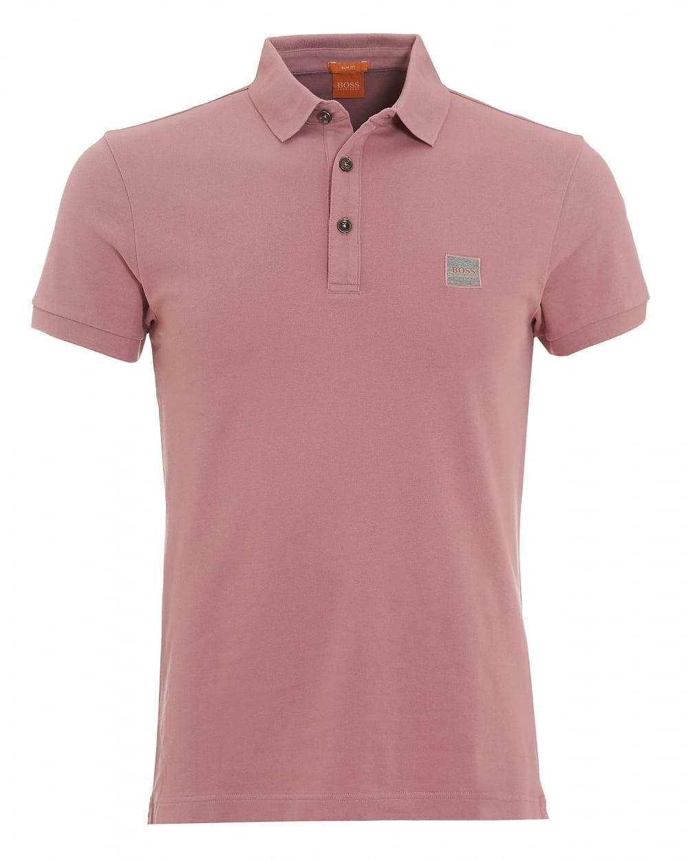 Mens Pavlik Polo, Plain Chest Logo Pink Polo Shirt