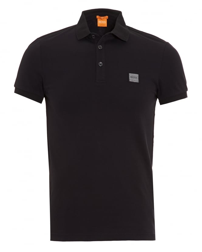 Hugo Boss Orange Mens Pavlik Polo Shirt, Black Slim Fit Logo Polo