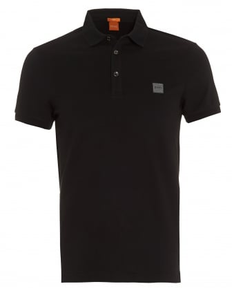Mens Pavlik Polo Shirt, Black Slim Fit Logo Polo