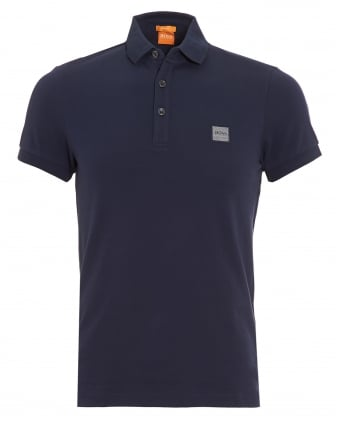 Mens Pavlik Polo Shirt, Navy Blue Slim Fit Logo Polo